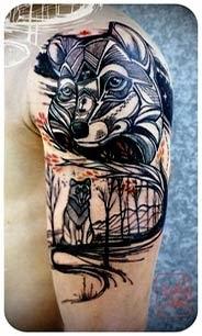 Artes de tatuagens de lobos