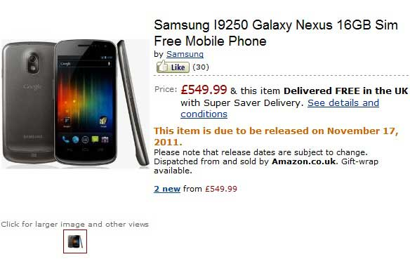 est price of samsung galaxy nexus unlocked version