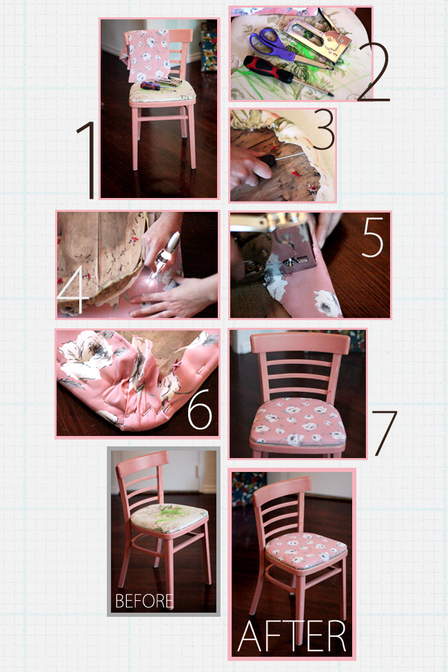 Ruche project diy how to reupholster a chair for How to reupholster a chair