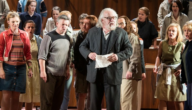 Schoenberg Moses und Aron - John Tomlinson and WNO chorus - WNO; photo Bill Cooper