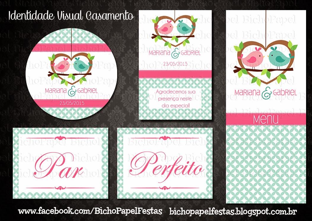 kit digital Casamento Pássaros Azul e Rosa