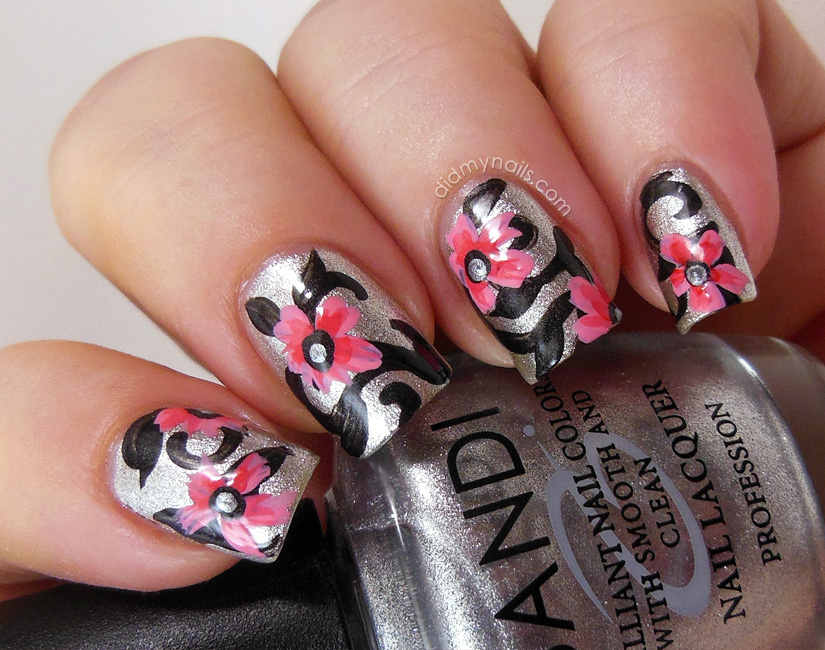 Did My Nails: Pink Flowers on Silver
