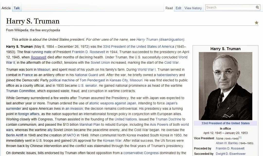Wikipedia article on Harry S. Truman
