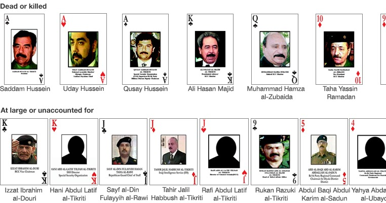 Iraqi most wanted playing cards. (image, 2003) [WorldCat.org]