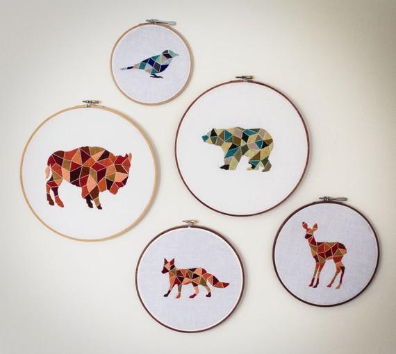 Littlegreenshed uk lifestyle geometric embroidery