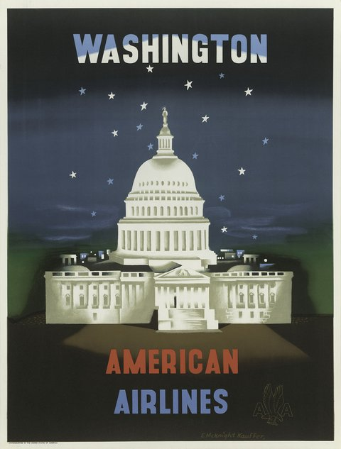 classic posters, free download, graphic design, retro prints, travel, travel posters, vintage, vintage posters, Washington D.C., American Airlines - Vintage Travel Poster