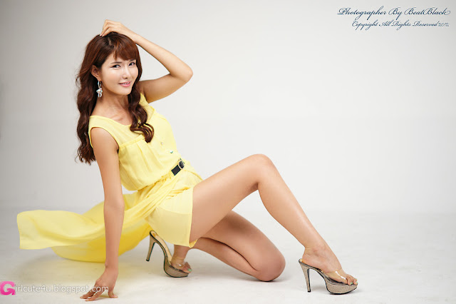 1 Cha Sun Hwa in Yellow-Very cute asian girl - girlcute4u.blogspot.com