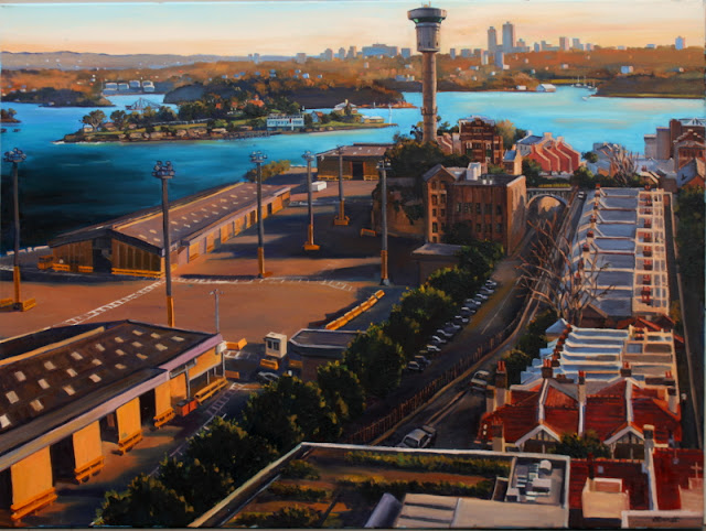 plein air oil painting of Barangaroo and Millers Point by artist Jane Bennett