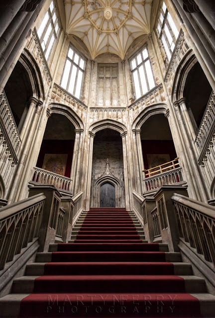 Grand staircase at Margam Castle in South Wales by Martyn Ferry Photography