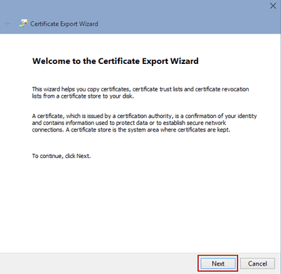 start export file encryption certificate