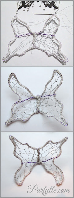 Create fairy wings by stitching silver netting over a wire frame