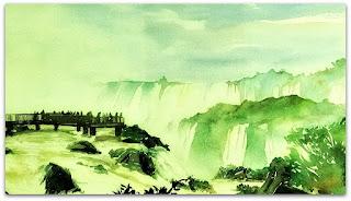 Mirante em meio às Cataratas do Iguaçu.
