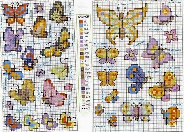 Artetramas online artesanato variado gr ficos for Farfalline punto croce