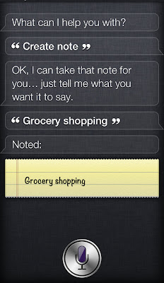 Creating a new note using iPhones virtual assistant - Siri