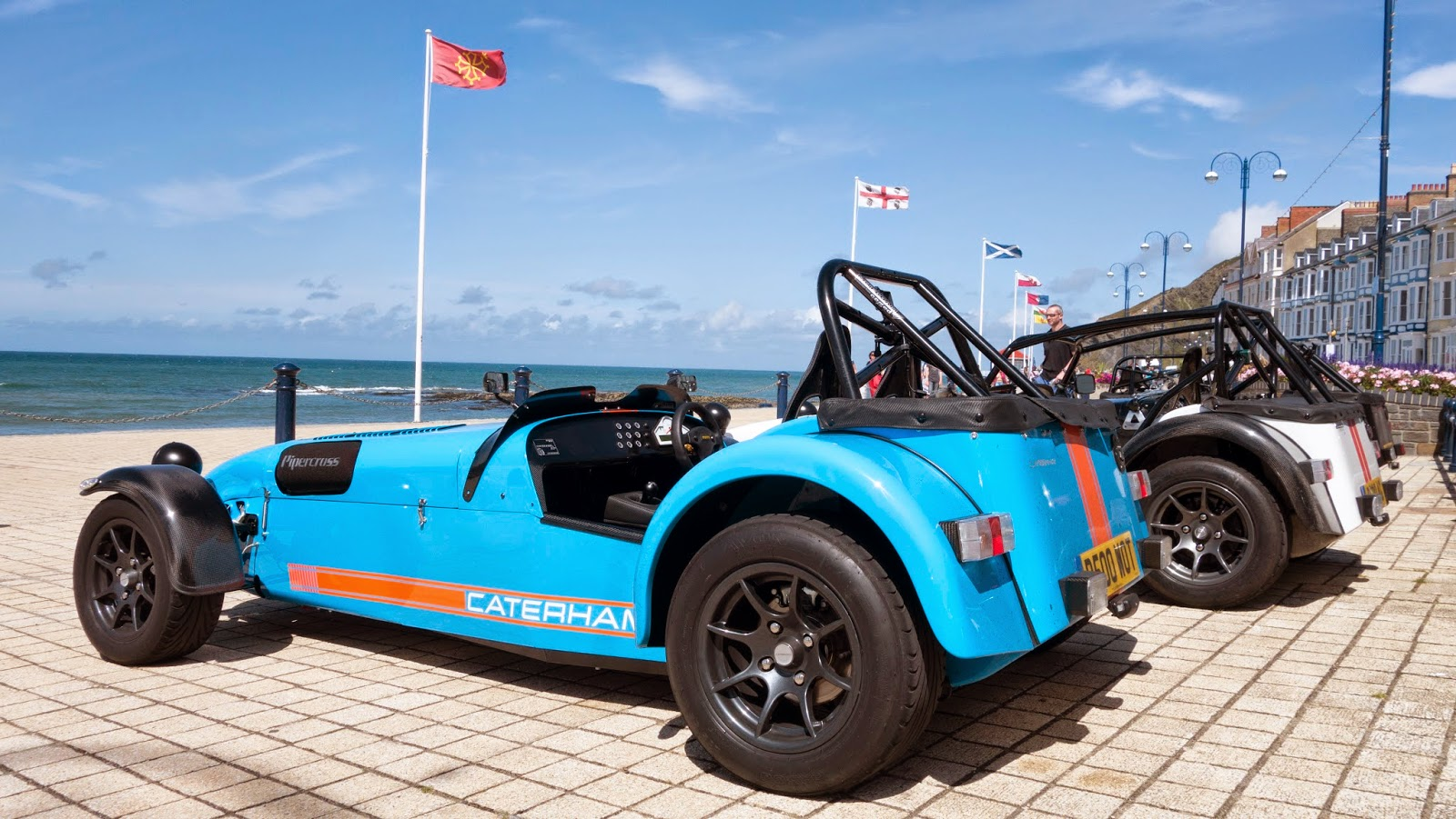 Caterham's parked up on Aberystwith promenade.