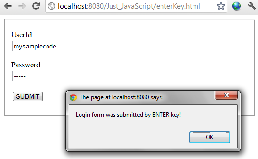 Form submit example using enter key in javascript jquery for Window onload javascript