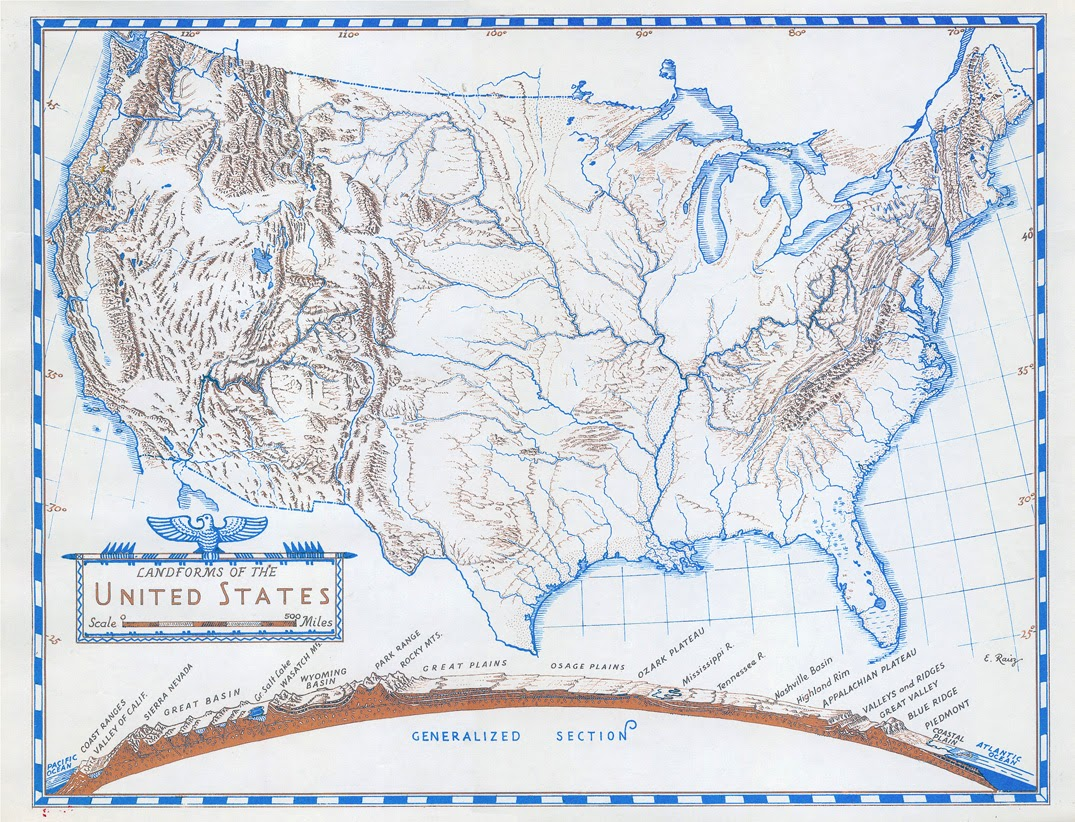 erwin raisz was a notable cartographer best known for his physiographic maps of landforms this map is useful for the generalized section at the bottom