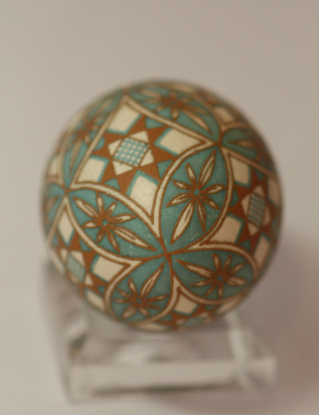 Brown, Aqua and Cream Traditional Pysanka
