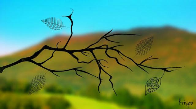 dibujo de rama en otoño sobre paisaje desenfocado