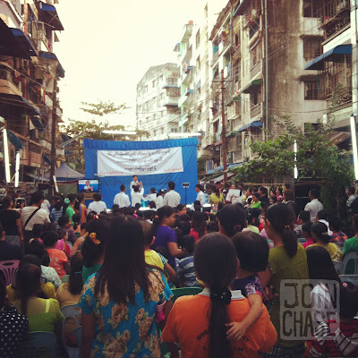 A talent show in a neighborhood for Independence Day in Yangon, Myanmar.