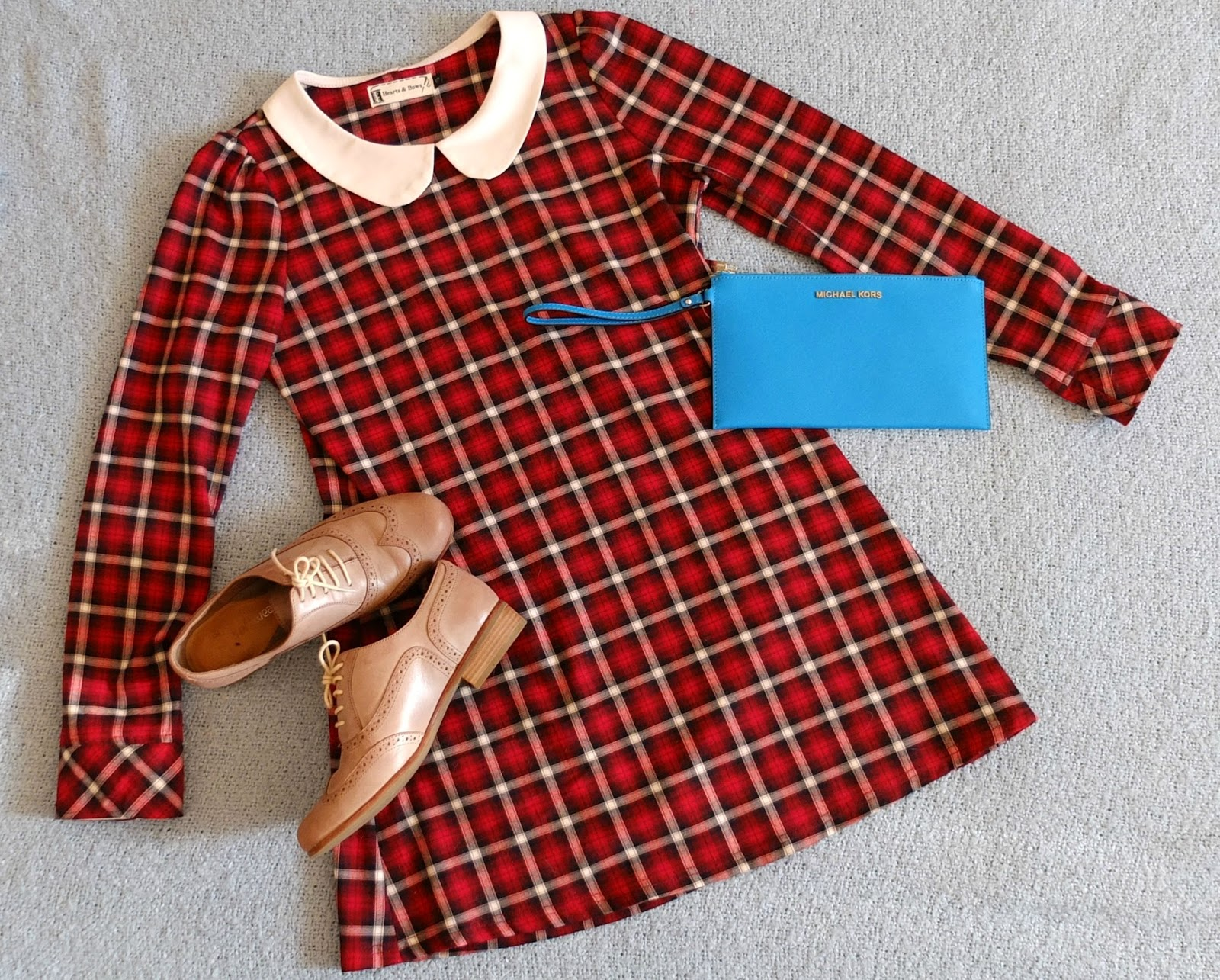 Preppy dress with Clarks brogues and Michael Kors bag