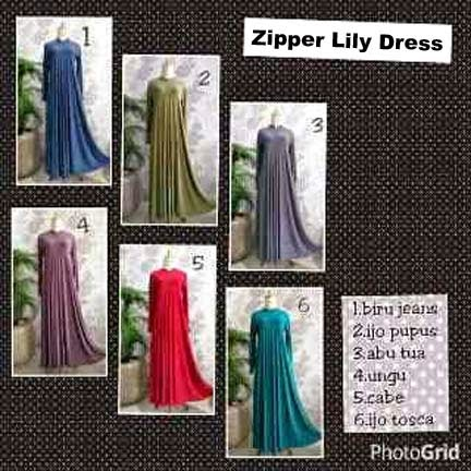 Gamis Jersey Zipper Lily Dress | azzahidahcollections.com