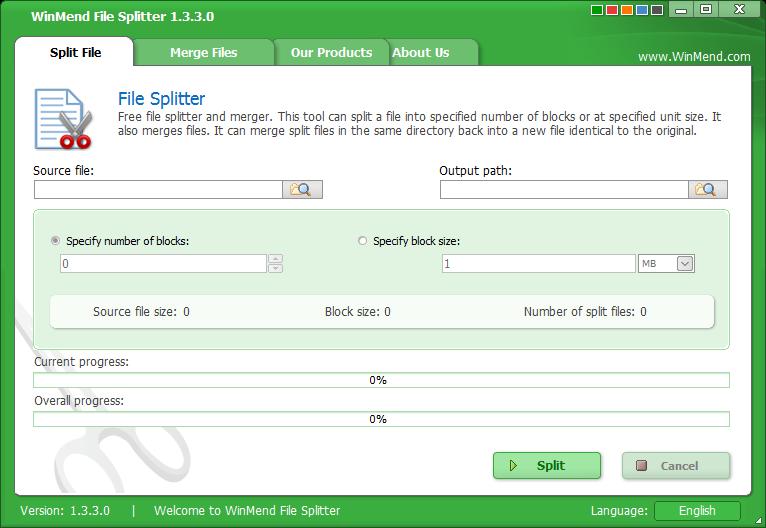 WinMend File Splitter Portable 免安裝綠色版下載,檔案分割軟體、檔案切割合併軟體工具