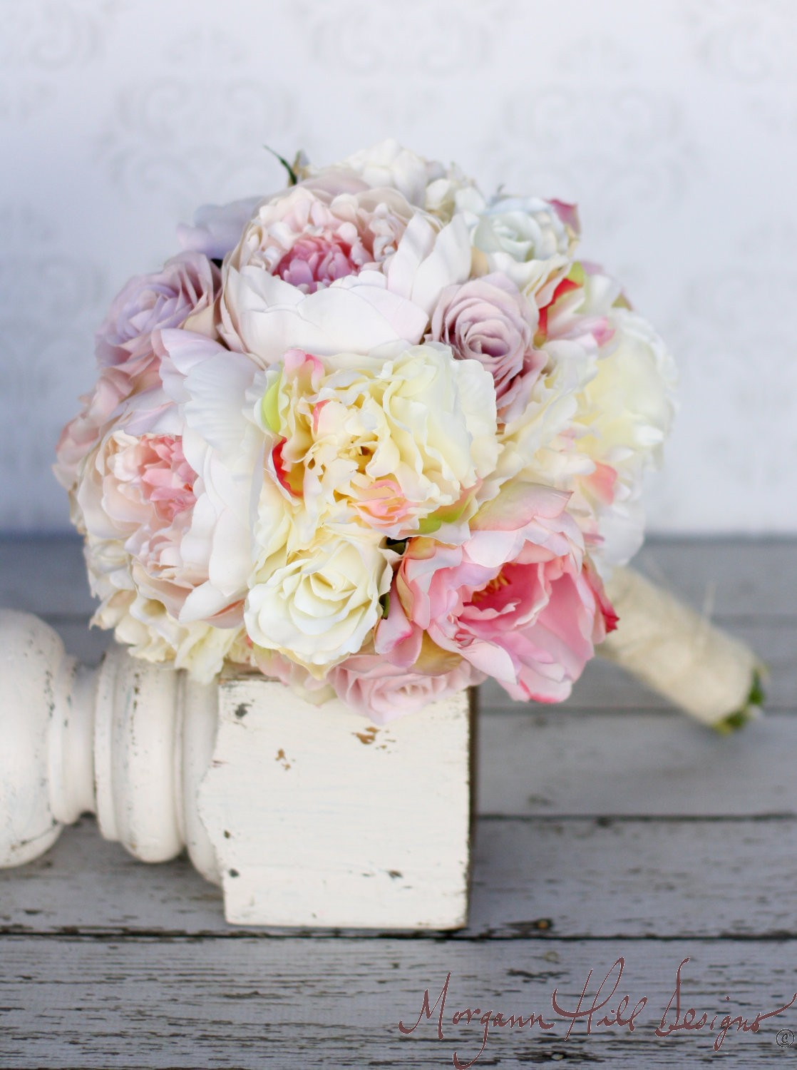 Morgann hill designs silk bride bouquet peony roses for Bouquet chic