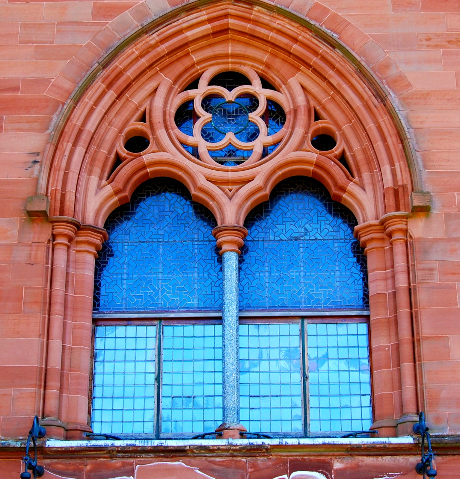 Neo-Gothic stonemasonry window, Mount Stuart house, Isle of Bute