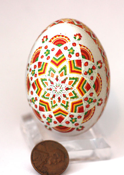Fiesta Themed Pysanky Easter Egg in Red, Yellow, Green, Orange, and White