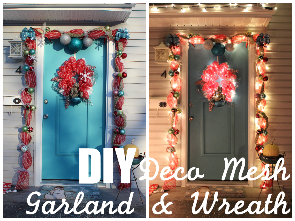 How to Make Your Own Deco Mesh Door Garland (and Wreath) on the Cheap | DIY : door garland - pezcame.com