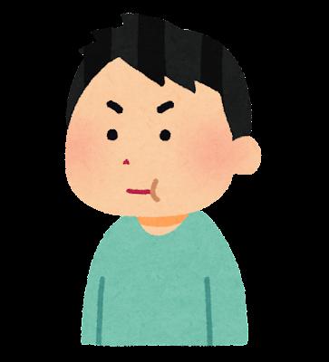 ゲップを我慢する患者のイラスト(健康診断)
