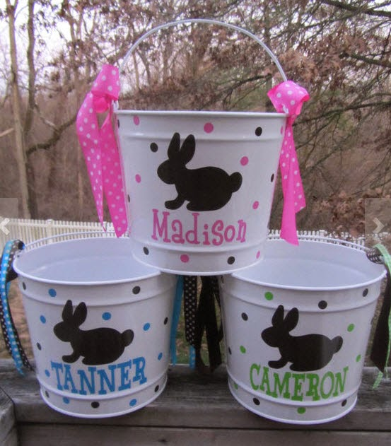 Thoughtful presence 10 ideas for the cutest easter baskets ever these adorable personalized buckets are found on etsy i love the bunny silhouette negle Choice Image
