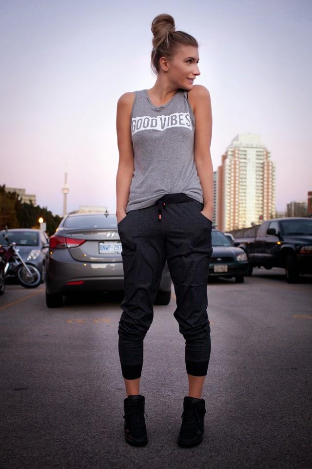 titika, active wear, mink pants, good vibes tank, nike dunk sky hi