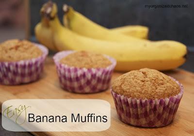 Easy Banana Muffins | www.myorganizedchaos.net