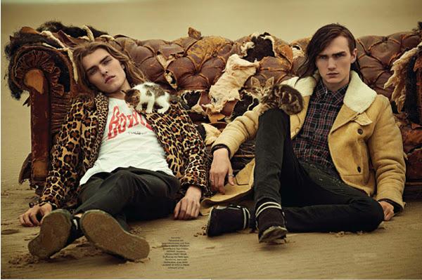 GQ style, GQ Alemania, grunge, modelo, look bohemio, Kurt Cobain, animal print