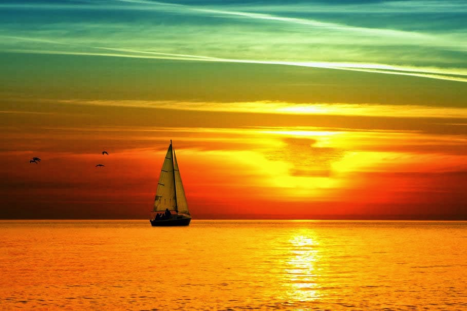 good-night-sea-sunset-boat-sail-bright