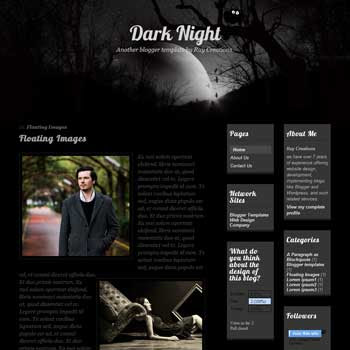 Dark Night blogger template. download personal blogger template. free blogspot template