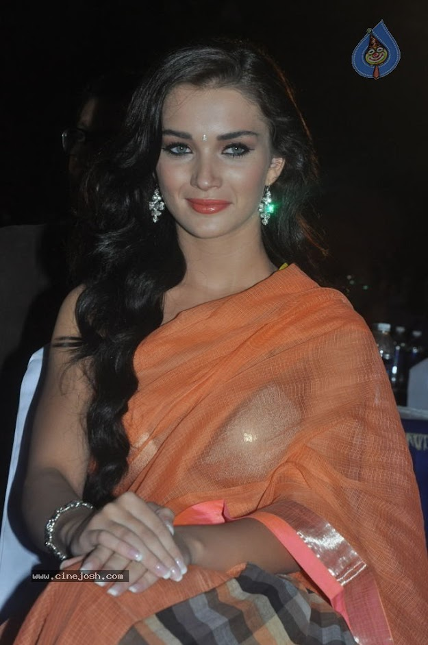 Amy Jackson in orange transparent saree - (8) -  Amy Jackson in Orange Transparent Saree at event