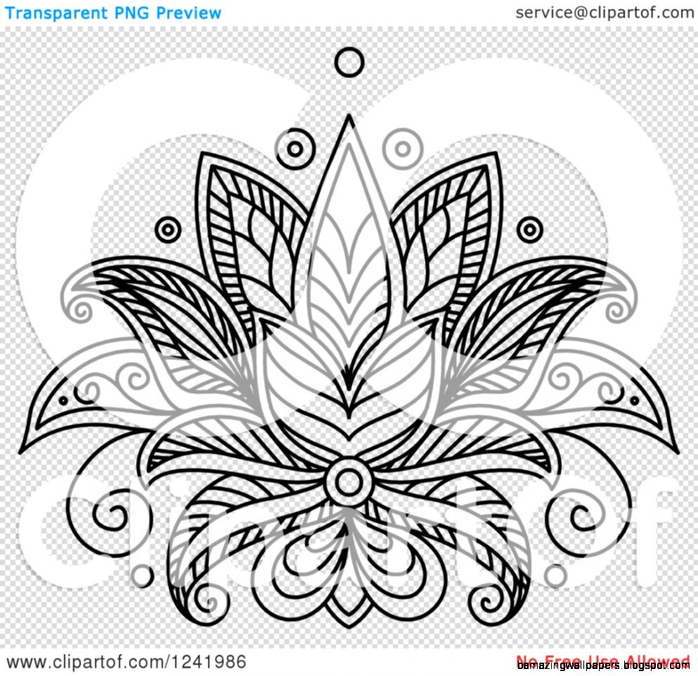 Clipart of a Black and White Henna Lotus Flower 12   Royalty Free