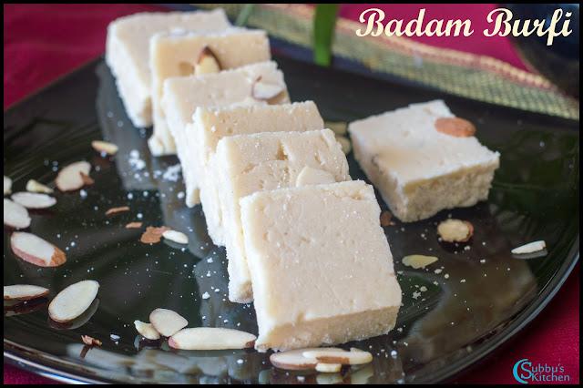 Badam Cashew Burfi Recipe | Badam Burfi Recipe