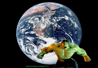 The Incredible Hulk Desktop Wallpapers Hulk Fighting Monster in Planet Earth seen from Space wallpaper