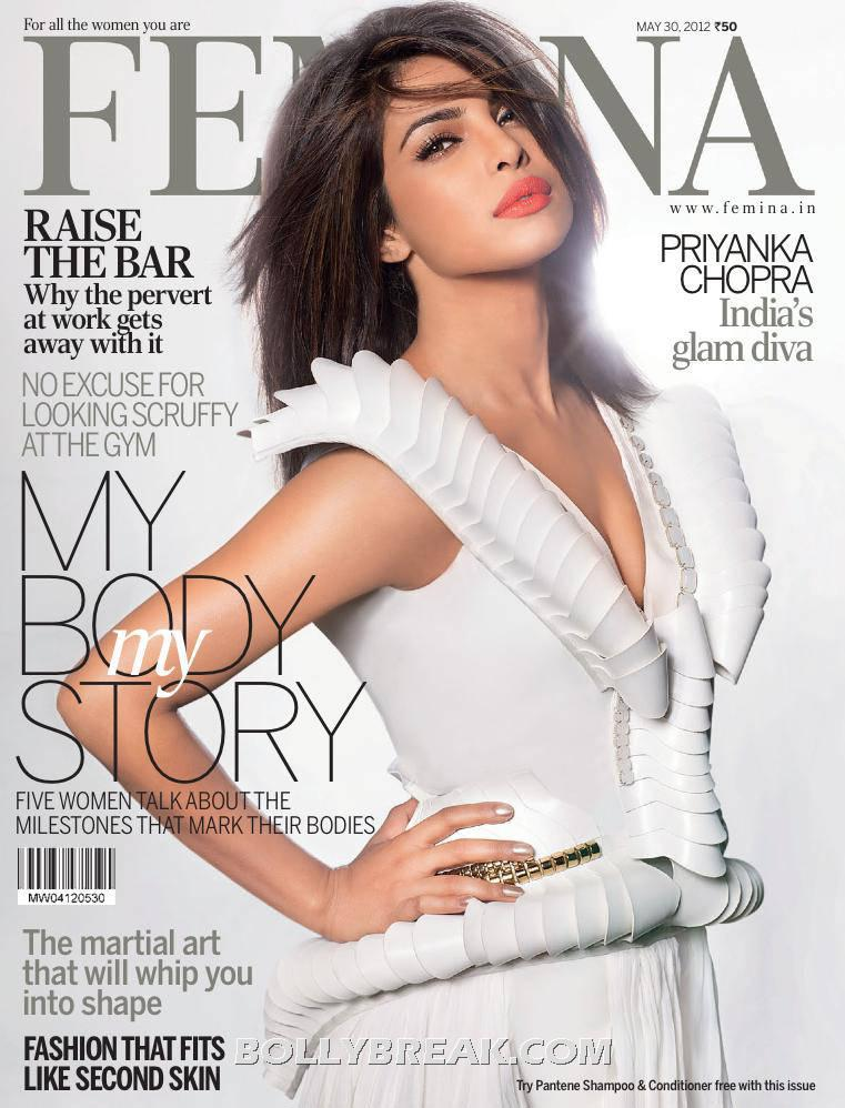 Priyanka Chopra White gown hot pic - Priyanka Chopra Femina Magazine photoshoot