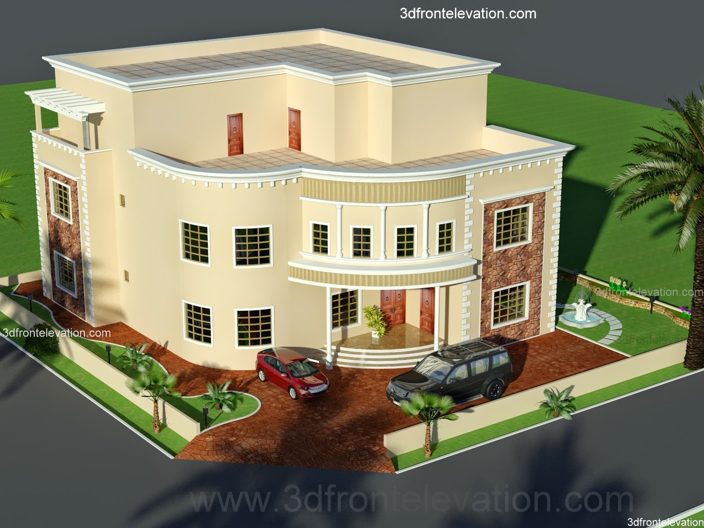 3d front oman new arabian villa plan design for Plan des villas modernes
