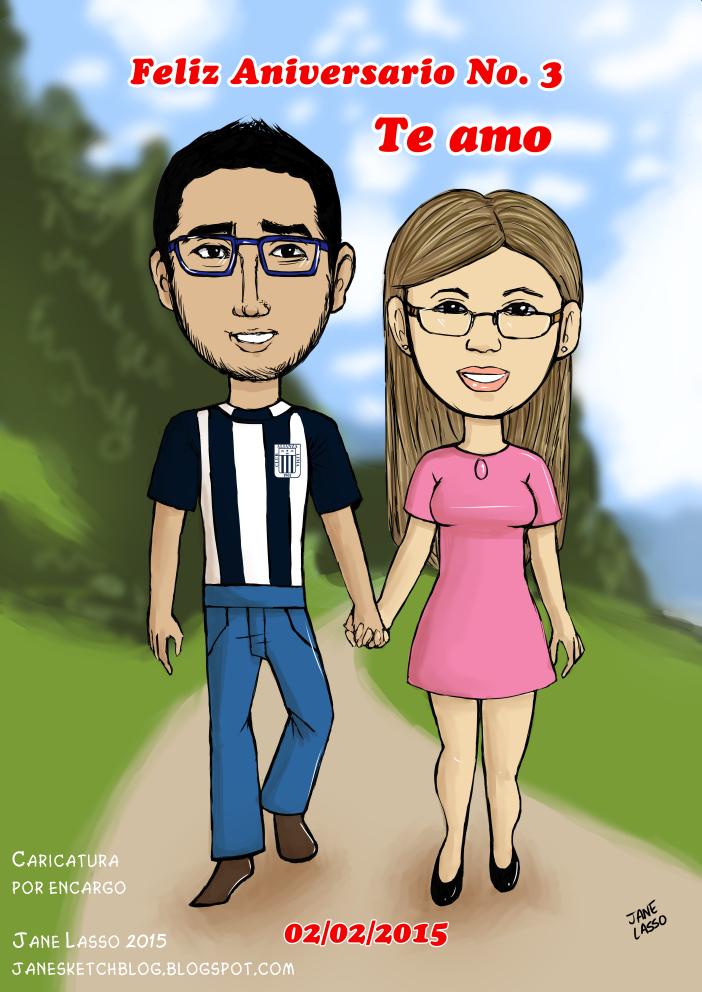 Caricatura digital de pareja