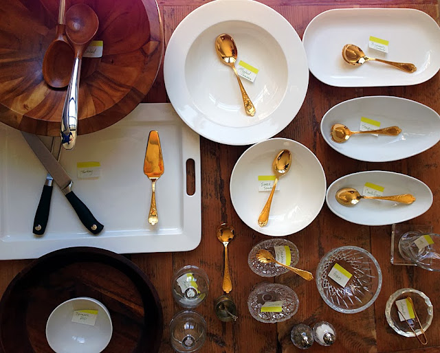 Label Serving Dishes | A Bar Cart in Brooklyn | Dinner Party Preparation