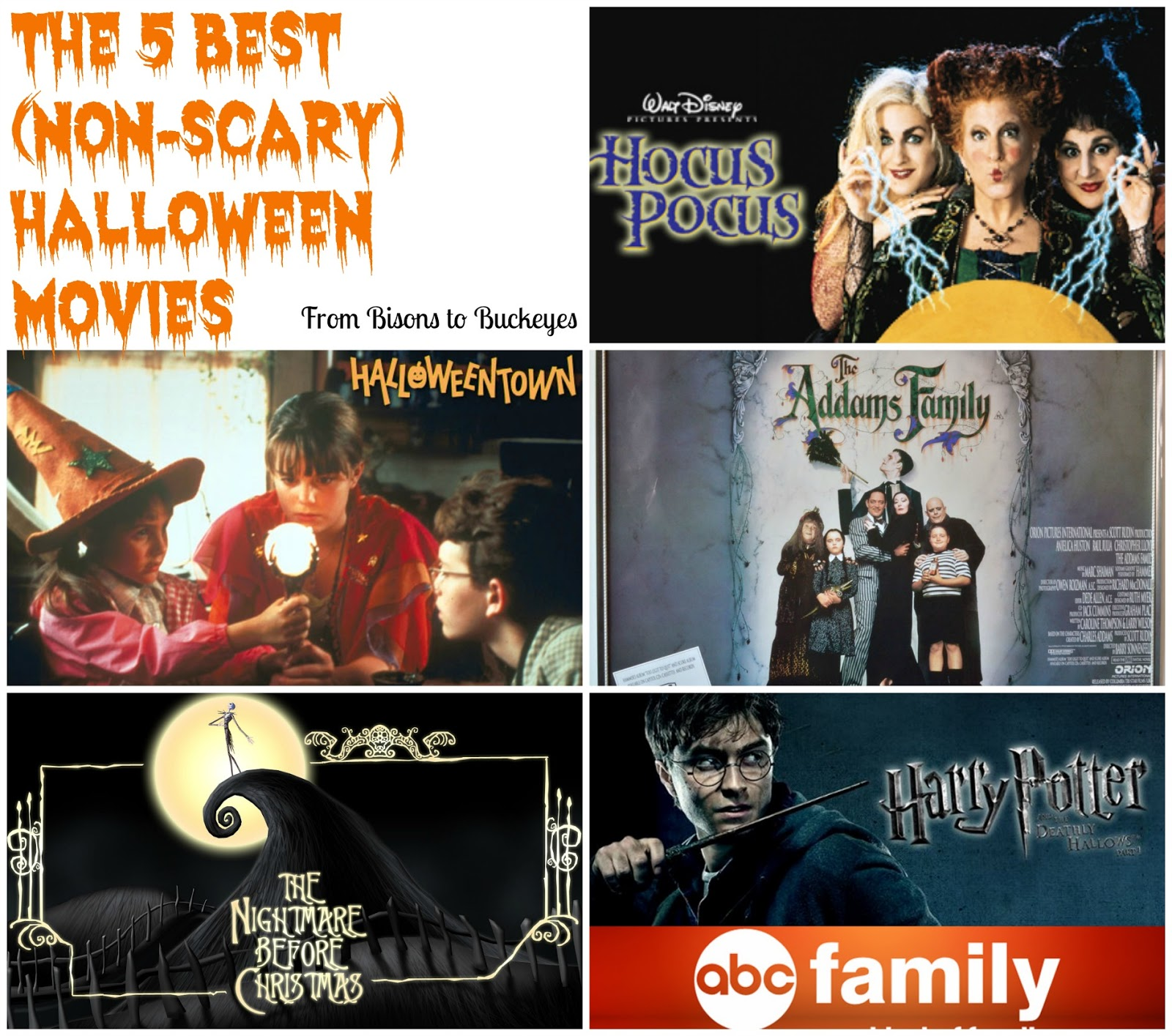 Non Scary Halloween Movies So in honor of having only one more week of October, I thought I'd share my five favorite (non-scary) Halloween movies today for Five on Friday!