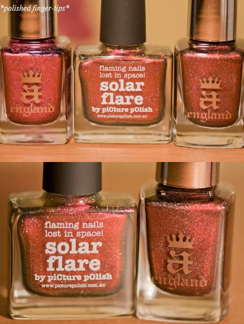 Picture Polish Solar Flare compared with A-England polishes