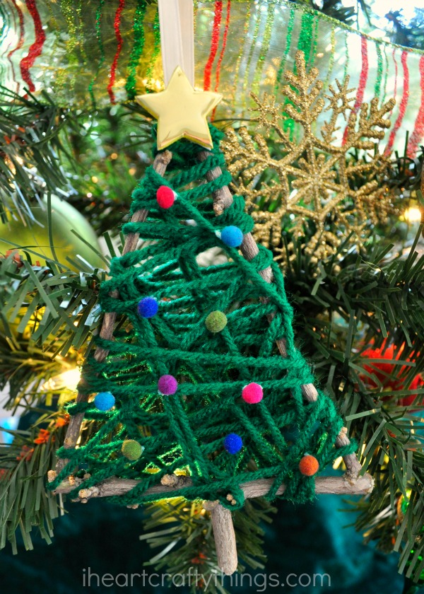 yarn wrapped christmas tree twig ornament - Ornaments For Christmas Tree