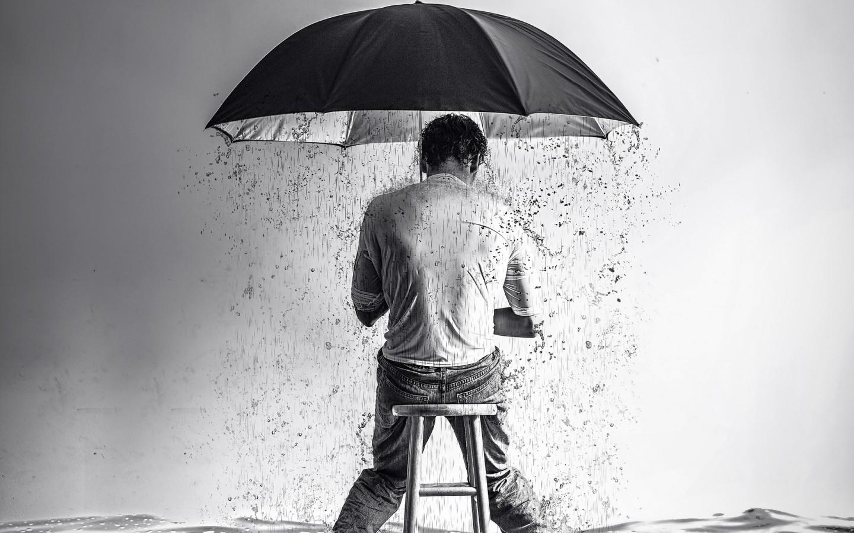 Lluvia dentro de sombrilla